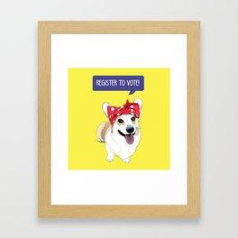 Political Pups - Register To Vote Corgi Framed Art Print