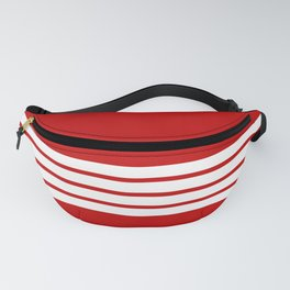 4 White Stripes on Red Fanny Pack