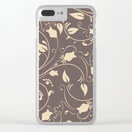 Vintage black gold flower Clear iPhone Case