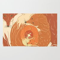 foxes Area & Throw Rugs featuring Foxes by Beesants
