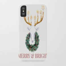 Merry and Bright Deer iPhone X Slim Case