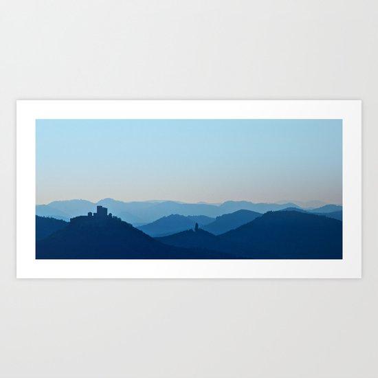Castle in blue misty mountains Art Print
