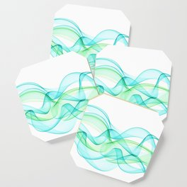 Sea Wave Pattern Abstract Aqua Blue Green Waves Coaster