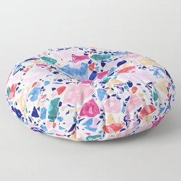 Terrazzo Crystals / Mineral Texture in Blue, Pink and Turquoise Floor Pillow
