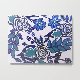 Blue Folk Art Floral Metal Print