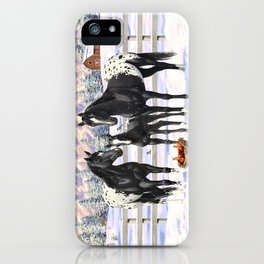 Black Appaloosa Horses In Winter Snow iPhone Case