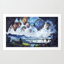 Spaceship enters Fantasy World through Star Gate Art Print