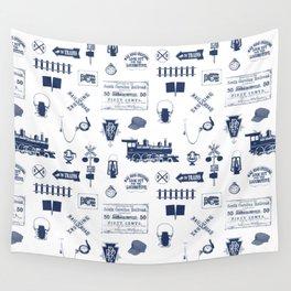 Railroad Symbols // Navy Blue Wall Tapestry