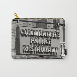 Old Commanders Palace Restaurant Sign, New Orleans Photo, Black and White Photography Carry-All Pouch