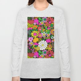 60's Groovy Garden in Chocolate Brown Long Sleeve T-shirt