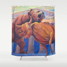 Bear vs Bull Shower Curtain