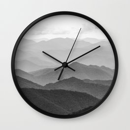 Forest Fade - Black and White Landscape Nature Photography Wall Clock