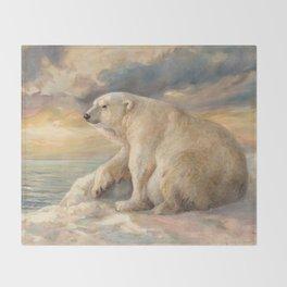 Polar Bear Rests On The Ice - Arctic Alaska Throw Blanket
