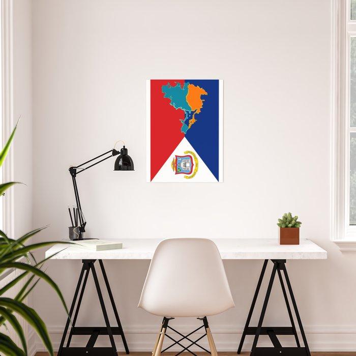 Sint Maarten Flag with Map Poster