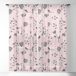 Dramatic Black and White Flowers I Sheer Curtain