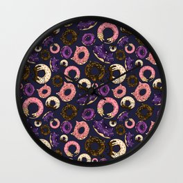 Colorful Galaxy Doughnut Cats Pattern Wall Clock
