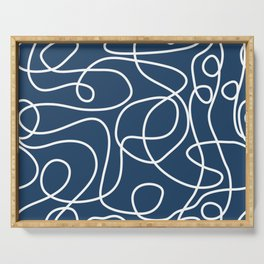 Doodle Line Art | White Lines on Petrol Blue Serving Tray