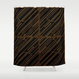 Art Deco Golden Lines Shower Curtain