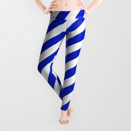 Cobalt Blue and White Wide Candy Cane Stripe Leggings