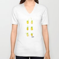 pineapples V-neck T-shirts featuring Pineapples by Kristan Kremer