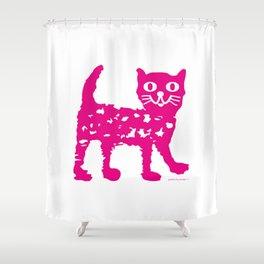 Magenta cat, cat pattern, cat design Shower Curtain