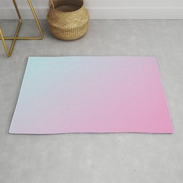 Pastel Light Pale Cyan Blue and Soft Light Pink Gradient Ombré  Rug