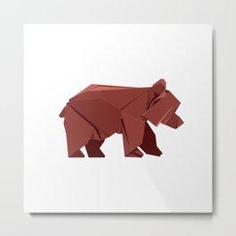 Origami Bear Metal Print
