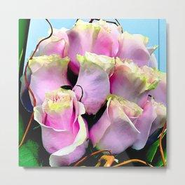 Soft Pastel Pink Gentle Rose Buds Floral Bouquet Metal Print