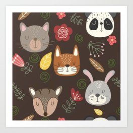 Woodland animals kids pattern brown background Art Print