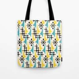 Mid Century Modern Atomic Wing Composition Turquoise & Yellow Tote Bag