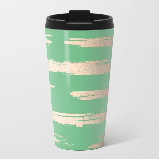 Abstract Paint Stripes Gold Tropical Green Metal Travel Mug
