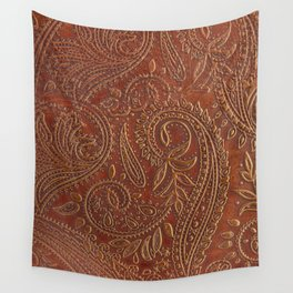 Rusty Tooled Leather Wall Tapestry