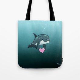 """Love Ya"" by Amber Marine ~ Toon Baby Dolphin Art, (Copyright 2014) Tote Bag"