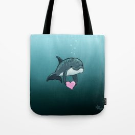 """Love Ya"" by Amber Marine ~ Toon Baby Dolphin Art, (Copyright 2014) Tote Bag"