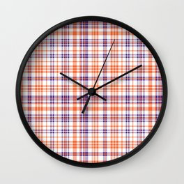Varsity plaid purple orange and white clemson sports college football universities Wall Clock