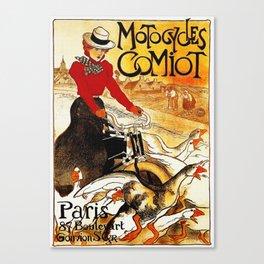 Vintage Comiot Motorcycle Ad - Paris Canvas Print
