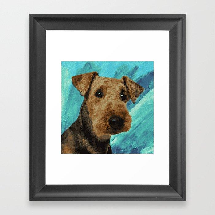 Airedale Terrier Portrait Gerahmter Kunstdruck