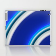 Blue and white curved Line abstract Laptop & iPad Skin