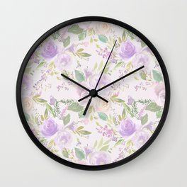 Blush lavender green watercolor hand painted floral Wall Clock