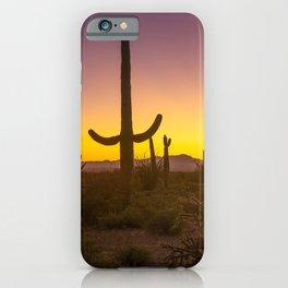 Spirit of the Southwest - Saguaro Cactus and Desert Plant Life in Warm Glow of Arizona Sunset iPhone Case