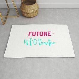 Future UFO Hunter Fun Alien Space Quote Rug