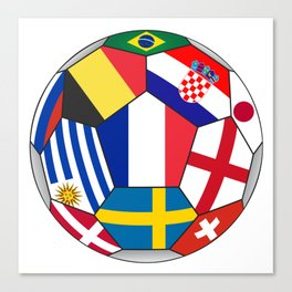 Football ball with various flags - semifinal and final Canvas Print