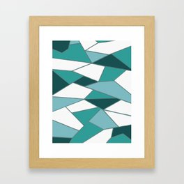 Emerald Turquoise Abstract Geometric Design Framed Art Print