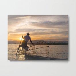 Local fisherman during sunset at Inle Lake | Travel photography Myanmar Metal Print