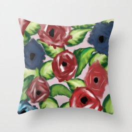 Patriotic Peonies Throw Pillow