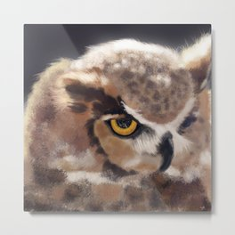 The Serious Horned Owl Metal Print