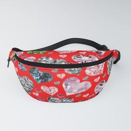 Heart Diamonds are Forever Love RED Fanny Pack
