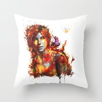 lara croft Throw Pillows featuring Lara Croft by ururuty