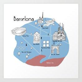Mapping Barcelona - Original Art Print