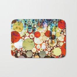 Abstract Retro Blue Orange Bubble Design Badematte